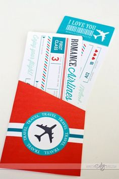 Printable Airline Tickets part of a Passport to Love Kit for the Hubby
