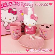Hello Kitty Ceramic Bathroon Set 4 Pcs Bath Bottle
