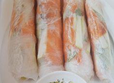Rouleaux de printemps au saumon et boursin WW, recette d'un plat avec très peu de points, facile et simple à réaliser pour un repas léger du soir.