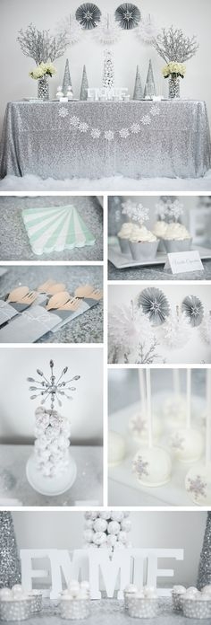 Winter wonderland party and decorations. Silver glitter and teal party. Rent the Kit or buy sweet party supplies at http://undercoverhostess.com