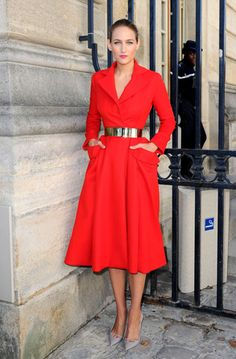 Bright Red Coat-Dress styleitlight.com