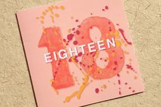 Orange Eighteen is from Luck & Judgement's 'Grown Up Numbers' range of greetings cards, designed to celebrate all those milestone birthdays in bright, bold and colourful st... #18 #18th #eighteenth