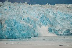 The Hubbard Glacier in Alaska is an awe inspiring cliff face of blue ice 330 feet high. Hubbard Glacier, Alaska The Last Frontier, Snow And Ice, Alaska Travel, Beautiful Places In The World, Niagara Falls, Wilderness, Stuff To Do, Waterfall