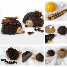 Coffee hedgehog tutorial / Делаем ароматных кофейных ёжиков Pine Cone Art, Pine Cone Crafts, Autumn Crafts, Nature Crafts, Crafts For Seniors, Diy Crafts For Kids, Christmas Craft Show, Christmas Decorations, Coffee Bean Art
