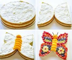 Kindertorte: A colorful butterfly cake with lots of fruit - Kuchen Backen - Rezepte - Cake Recipes Food Cakes, Baking Cakes, Fruit Cakes, Bolo Original, Cake Recipes, Dessert Recipes, Fruit Recipes, Butterfly Cakes, Butterflies