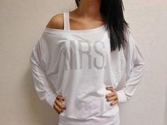 White MRS. Off Shoulder Shirt. Black MRS Off-Shoulder Sweatshirt. Bride Gift. Bachelorette Party. White Black Gray Off Shoulder Shirt. on Etsy, $28.99