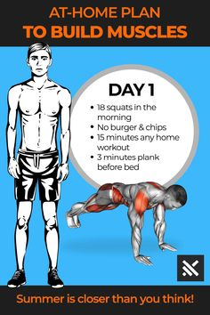 ‎Muscle Booster Fitness at Home Gym Workout Chart, Gym Workout Videos, Fun Workouts, At Home Workouts, Workout Routines, Build Muscle, Muscle Building, Gain Muscle, Muscle Men
