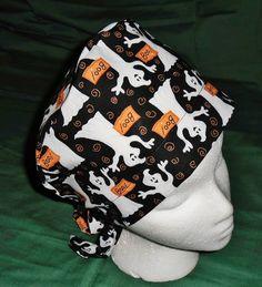 Halloween Scrubs Scrub Caps Pixie Hat Fun Surgical Hats OR Cap Hospital Hats GHOST BOO