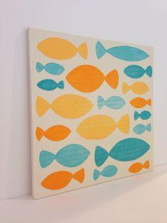 Original Hand Painted Orange and Aqua Fish Art by SweetBananasArt, $42.00