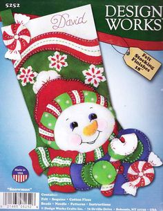 Felt Xmas Stocking Kit by Design Works, 'Snowman', measures 16 inches diagonally. Christmas Stocking Kits, Felt Christmas Stockings, Santa Stocking, Felt Stocking, Christmas Themes, Christmas Wreaths, Christmas Crafts, Christmas Ornaments, Craft Show Ideas