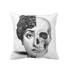 Fornasetti Face & Skull Throw Pillow Modern by PatternBehavior