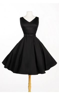 Pinup Couture - Havana Nights Dress in Black Sateen | Pinup Girl Clothing