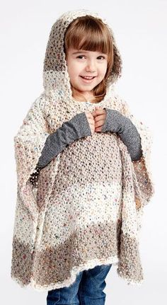 Free Knitting Pattern for 4 Row Repeat Sprinkles Hooded Child's Poncho - This easy poncho is knit with moss stitch and features a hood and buttoned sides to form armholes. Quick knit in super bulky yarn. Takes just 2 skeins for the recommended  yarn. SIZES: To fit chest measurement 2-4: 21″-23″ and 6-8: 25″-26½""