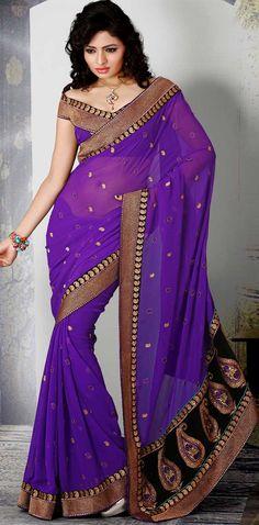 Luscious Purple Faux Georgette Embroidered Saree - IG6821 USD $ 51.79