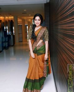 ramya at sathyam cinemas in brown and green designer saree Ramya VJ and her love for Saree's | Saree Love, Traditional Ramya Gallery|