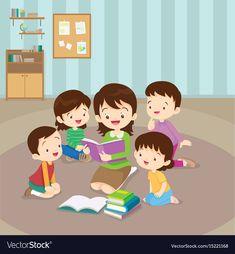 Teacher and kids, Children enjoy listening to stories teacher reading books. Animation Schools, Kids Reading, Reading Books, Powerpoint Background Design, Sewing Stuffed Animals, School Clipart, Kids Vector, School Decorations, Home Learning