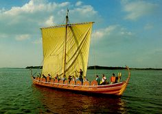 Here is Helge Ask, beautifully made replica of the Skuldelev 5 viking ship, found at Skuldelev in Denmark.     Five late viking age ships were found at the site of Skuldelev. They are now to be seen in the Viking Ship Museum in Roskilde, Denmark.     There are sailing replicas of all five ships.