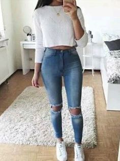 high waist jeans white crop long sleeve - accesories high waist jeans white crop long sleeve teen fashion that looks really trendy . Teenage Outfits, Teen Fashion Outfits, Mode Outfits, Outfits For Teens, Summer Outfits, Winter Outfits, Party Outfits, Fashion Clothes, Summer Dresses