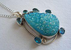 Druzy Necklace Druzy Pendant Druzy Jewelry Silver by SperkyDesigns