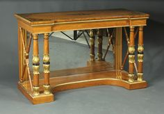 """Antique satinwood console table Ca1830 England. 32.5""""H x 51""""W x 22.5""""D."""