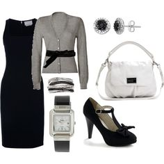A fashion look from January 2012 featuring long black velvet dress, long knit tops and heels & pumps. Browse and shop related looks. Stylish Outfits, Cool Outfits, Classy Outfits, Fasion, Fashion Outfits, Womens Fashion, Professional Attire, Complete Outfits, Work Wardrobe