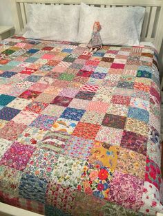 Charm Square quilt. The fabric (Liberty of London) is awesome-: