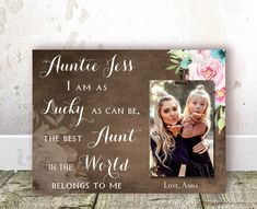 Aunt Christmas Gift Auntie Gift Aunt Gift Aunt BIRTHDAY Gift Personalized Picture Frame Aunt gift from Niece Auntie Gift from Nephew Aunt