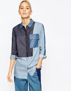 ASOS WHITE Mixed Denim Chambray Shirt