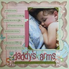 My favorite photo of my daughter in her Daddy's arms. Scrapbook Page #Cosmocricket