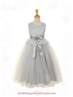 Silver Lace Bodice with Double Layered Girl Dress - $53.99