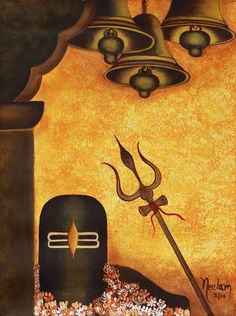 'Shiva Lingam II' - Brown and Orange Hindu Art Painting with Symbols of ShivaYou can find Hindu art and more on our website.'Shiva L. Arte Shiva, Shiva Art, Krishna Art, Hindu Art, Shiva Shakti, Shiva Linga, Ganesha Art, Lord Shiva Hd Wallpaper, Orange