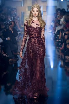 Princess in Burgundy Fashion Show Elie Saab 2016