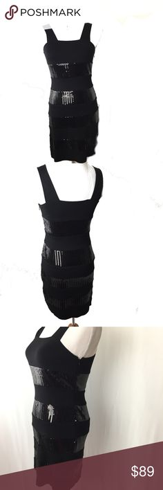 Vivienne Tam Sleeveless Bodycon Dress Black sleeveless bodycon, with black sequins strips all the way down. Fully lined.   PLEASE LOOK AT PICTURES AND ASK QUESTIONS BEFORE PURCHASING NWT Vivienne Tam Dresses Mini