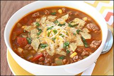 Hungry Girl's Mexican Taco Soup. Entire recipe is one serving (about 2 2/3 cups): 351 calories, 11.5g fat, 669mg sodium, 29g carbs, 4g fiber, 7g sugars, 33.5g protein -- PointsPlus® value 9*