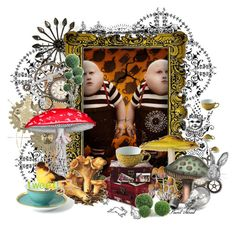 """TWEEDLEDUM AND TWEEDLEDEE"" by painthead ❤ liked on Polyvore featuring art, tweet, alice, tweedledum and tweedledee, mushroom, alice in wonderland, outside, painthead and birds"