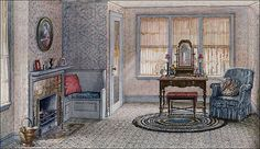 Either a dressing room or sitting room. It was shown in Ladies Home Journal and was one of the illustrations during the Parsons advertising phase. The light blue woodwork is attractive . just a pretty space. Image courtesy of Antique Home & Style. Vintage Room, Bedroom Vintage, Vintage Decor, 1920s Bedroom, 1920s Home Decor, Retro Home Decor, Architecture Design, Apartment Decorating On A Budget, Décor Antique