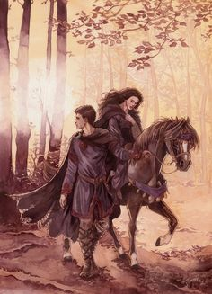 I'm normally don't go far all the fan art out there, but Beren and Luthien by Gold-Seven is pretty amazing.