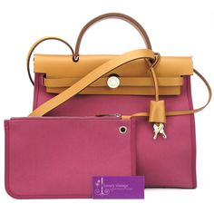 HERMES HERBAG ZIP 31 Tosca Pink Canvas With Leather Good Condition Ref.code-(BVERK-1)