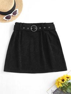 Corduroy Buckle Belted Mini Skirt - Black S Bikini Volante, Bikini Push Up, Mini Vestidos, Mermaid Skirt, Corduroy Skirt, Cheap Shirts, Cute Woman, Belt Buckles, Trendy Fashion