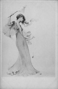 Artwork of a woman by Art Nouveau artist Manuel Orazi (1860-1934).