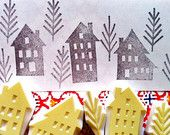 winter street rubber stamp set. hand carved rubber stamps. make a village. 3 houses. 2 trees. set of 5. story telling.