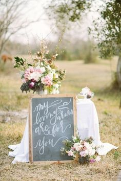 Chalkboard sign Spring bouquet | Kori Lynn Photography and The Moss & Ross Floral Design | see more on: