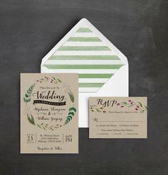 Wild Flower Wedding Invitation Suite - Rustic Wedding Invitation - Kraft Paper - Green Stripes