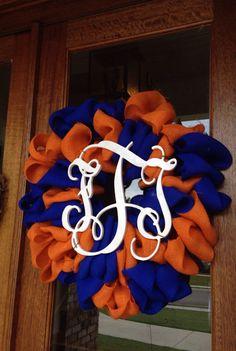Monogram Auburn Florida Gators Football by Frontdoorshowcase Football Crafts, Football Wreath, Florida Gators Football, College Football, Gator Football, Auburn Wreath, Diy Crafts For Adults, Pinterest Crafts, 4th Of July Wreath