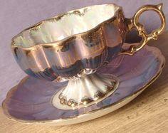 Antique Royal Sealy blue tea cup and saucer, pedestal tea cup set, blue and gold japanese tea cup, lustreware tea cup, iridescent tea cup