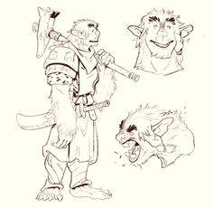 My bugbear paladin found and hatched a mystery egg, and is now mom to a little chimera bab. Character Concept, Character Art, Concept Art, Character Ideas, Dnd Dragons, Dungeons And Dragons, D D Characters, Fantasy Characters, Fantasy Inspiration