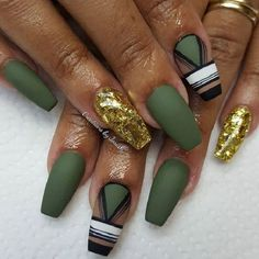 Tribal Look Army Coffin Nail Art Design. These tribal army coffin nails is best suited for your outfit, military in nature. You can also wear this design on your casual days too.