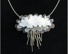 Natalie Knott of NIK Jewelry created the above spectacular layered Silver Rain Clouds Necklace using sterling silver and oxidized copper - Rainy Day Jewelry Inspirations and Tutorials - The Beading Gems Journal