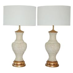 VIntage Carved Plaster Lamps with Asian Flavor