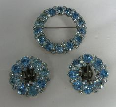 Vintage Weiss Blue Rhinestone Circle Brooch by TheFashionDen, $48.00